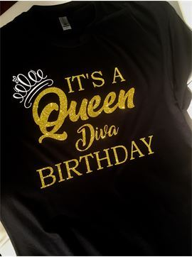Women's Personalized All Glitter Birthday Party Shirts - Its A Queen Diva Birthday
