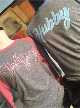 Hubby and Wifey His and Hers Glitter Triblend Relationship Shirt Set