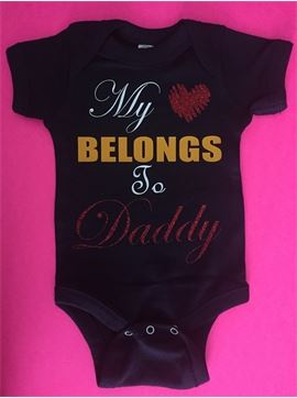 Personalized Infant Baby Onsie Body Suit - My Heart Belongs To Daddy