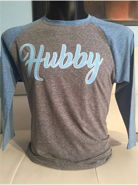Hubby His and Hers Glitter Triblend Relationship Ragland T-shirt - Hubby