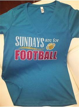 Women's Glitter V - Neck Game Day Football T - Shirt - Sundays Are For Football