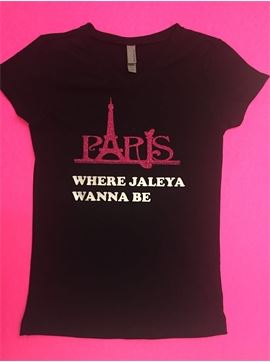 "Personalized Girls V neck T-shirt - Paris Is Where ""Child's Name"" Wanna Be"