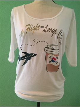 Women's Vacation T-Shirt - Long Flight = Large Coffee