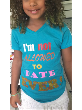 Personalized Girls Youth Princess CVC V neck T-shirt-I'M Not Allowed To Date Ever!